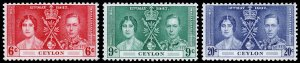 Ceylon Scott 275-277 (1937) Mint LH VF Complete Set C