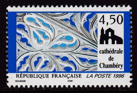 France 1996 Scott 2529 4.50fr. Chanbery Cathedral, Savoie Tourist Issue   VF/NH
