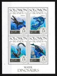 [107101] Solomon Isl. 2013 Prehistoric animals dinosaurs Marine life Sheet MNH