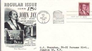 1958, 15c John Jay, Fleetwood, FDC (D15122)