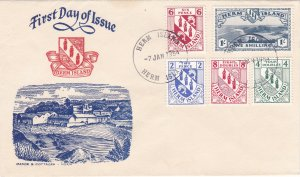 Herm Island,  Coat of Arms & a Scenic 1 Shilling stamp on 1st Day Cover.