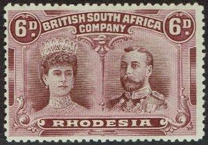 RHODESIA 1910 KGV DOUBLE HEAD 6D PERF 14