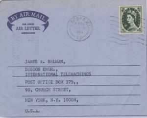 Great Britain 9d QEII Wilding 1968 London. W.I., K3 Air Letter Airmail to New...