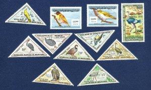 MAURITANIA  -  - FVF MNH - BIRDS, triangles  - 1963-1972