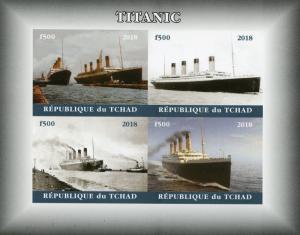 Chad 2018 MNH Titanic 4v IMPF M/S II Boats Ships Nautical Stamps