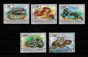 Burundi MNH Set Of 5 Snakes Reptiles 3012