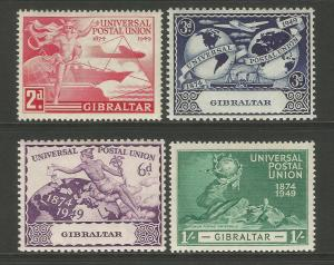 Gibraltar 1949 UPU 75th Anniversary Commemorative Set Mounted Mint