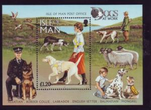 Isle of Man Sc 722 1996 Dogs stamp souvenir sheet mint NH