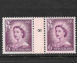 NEW ZEALAND  1953-59  6d  QEII  COIL  #8   MNH   CP NC2a