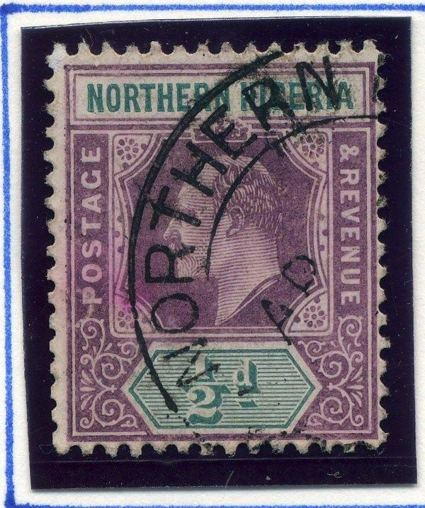 NORTHERN NIGERIA;  1904 early classic Ed VII issue used 1/2d. value Postmark
