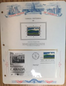 #1324 Canada Centennial FDC and MNH Single in mount on souvenir page