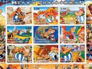 Tajikistan 2001 ASTERIX Merry Christmas Sheetlet (9) MNH