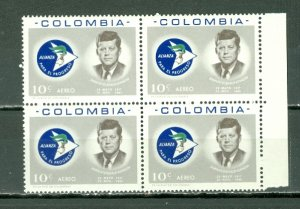 COLOMBIA 1963 KENNEDY AIR #C455 MARGIN BLK MNH