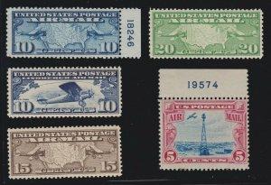 US C7-C11 Air Mail Maps Mint VF OG NH SCV $43.75