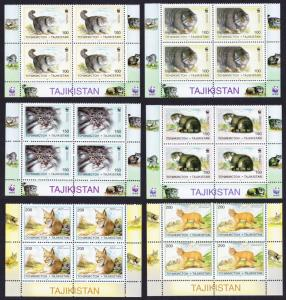 Tajikistan WWF Pallas's Cat 6v Bottom Blocks of 4 SG#90-95 MI#94-99 SC#92-97