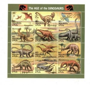 Maldives MNH S/S 9411 Dinosaurs 12 Stamps