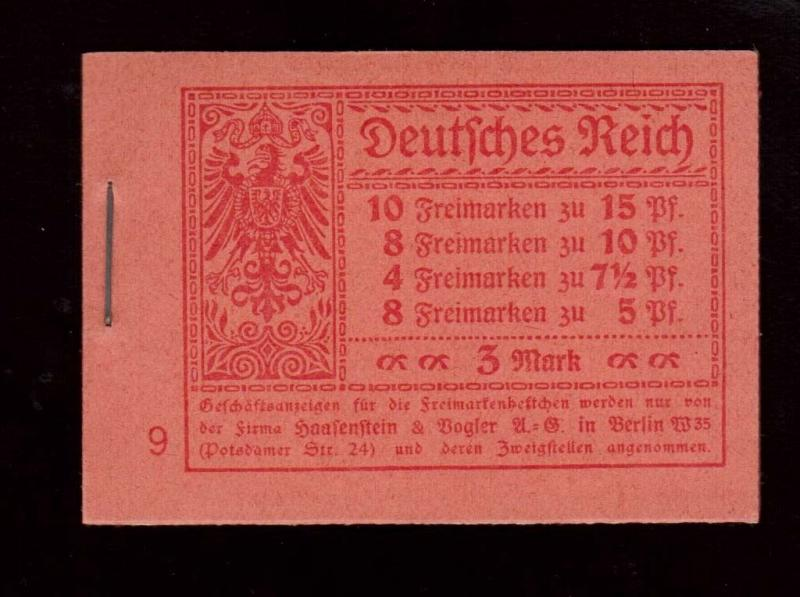 Germany Michel #MH11.1A VF Mint Scarce Complete Booklet 1919