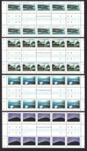 Ascension Island Views 1st series Full Gutter Strips SG#337-340 SC#328-331 SALE