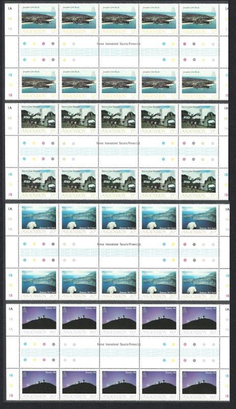 Ascension Island Views 1st series Full Gutter Strips SG#337-340 SC#328-331 SALE