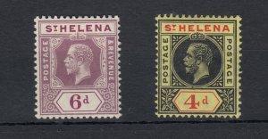 St Helena KGV 1913 4d/6d SG83/84 MH JK796