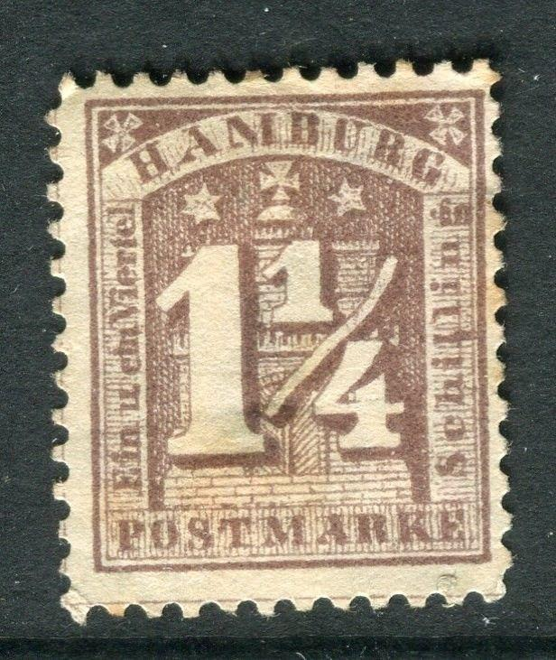 GERMANY  HAMBURG;  1864-5 classic perf issue 1.25s. used value,  hinge thin