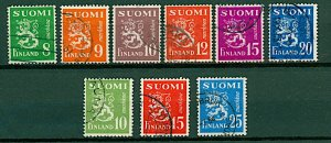 Finland 1949/52 Lion definitives with new design 4th issue 8m to 25m (9v) VFU
