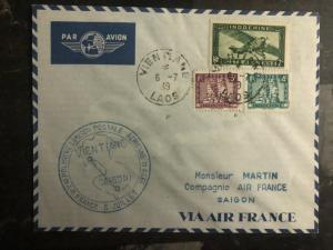 1939 Vientiane Laos First Flight Cover Saigon Vietnam Air France 150 Flown FFC