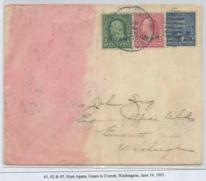 GUAM #1,2,5 ON COVER JUNE 19,1905 CV $600 BS8448 HS108G