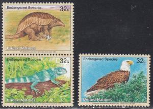 United Nations NY MNH 657-9 Armadillo Bald Eagle Iguana Endangered Species