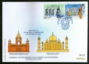 Armenia 2018 India Joints Issue Manipuri & Hov Arek Dance Costume 2v FDC # 7720