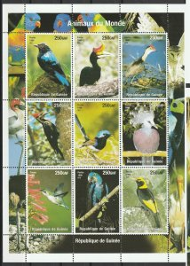 Guinea MNH S/S Gorgeous Birds 1998 9 Stamps