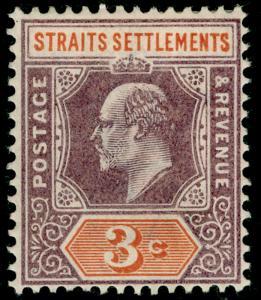MALAYSIA - Straits Settlements SG111, 3c dull purple on orange, M MINT.