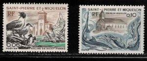 ST PIERRE & MIQUELON Scott # 436-7 MH - Birds, Church & Fish