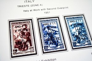 COLOR PRINTED TRIESTE [ZONES A+B] 1947-1954 STAMP ALBUM PAGES (40 illust. pages)
