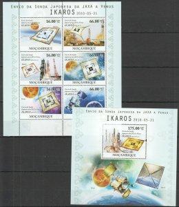 BC1139 2010 MOZAMBIQUE SPACE JAPANESE FROM JAXA TO VENUS IKAROS BL+KB MNH