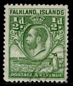 FALKLAND ISLANDS GV SG116, ½d green, FINE USED.
