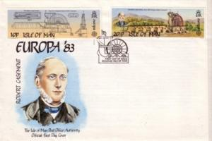 Isle of Man Sc 244-5 1983 Europa Laxey Wheel stamps FDC