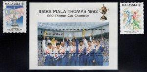 Malaysia Scott 457-459 stamp set and souvenir sheet
