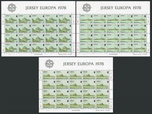 Jersey 187-189 sheets,MNH.Michel 177-179. EUROPE CEPT-1978:Mont Orgueil,Fort,