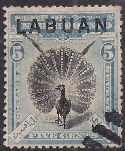 Labuan North Borneo 1902 - 03 KEV11 5ct Black & Blue used SG 114 ( J1384 )