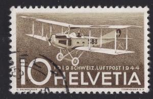 Switzerland  #C37  1944 used  air post   aeroplane  10 ct