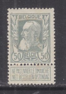 BELGIUM, 1905 Leopold 50c. Grey with Tab, lhm.
