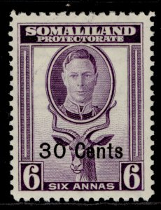 SOMALILAND PROTECTORATE GVI SG129, 30c on 6a violet, M MINT.