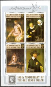 Niue 1990 Art Paintings Anniv. of First Stamp S/S MNH