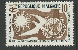 Malagasy # 300   UN Human Rights Declaration (1) Mint NH