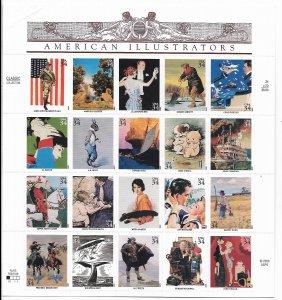USA 3502 MNH SHEET AMERICAN ILLUSTRATIONS