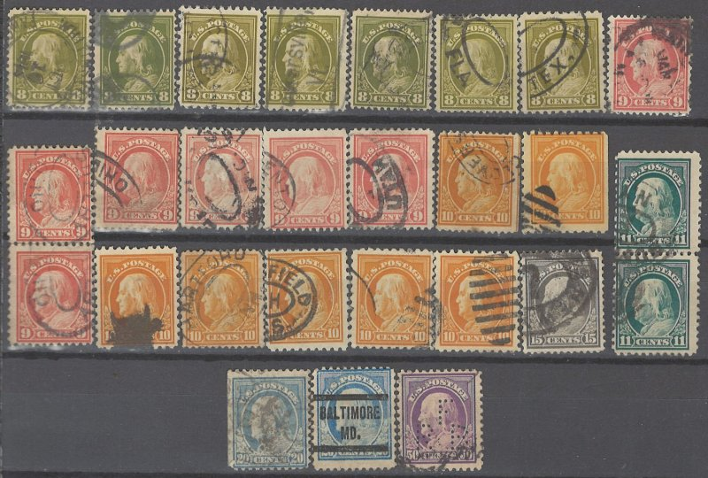 COLLECTION LOT # 2255 UNITED STATES 27 STAMPS 1912+ UNCHECKED STUDY