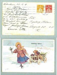 Denmark. Postcard. New Year 1918. Girl, 3 Dogs. Stamp 1+2 Ore. Copenhagen