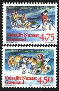 Greenland. 1997. 313-14. Children with dogs, christmas. MNH.
