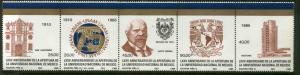 MEXICO 1408a 75th Anniv re-opening University strip of 5 MNH